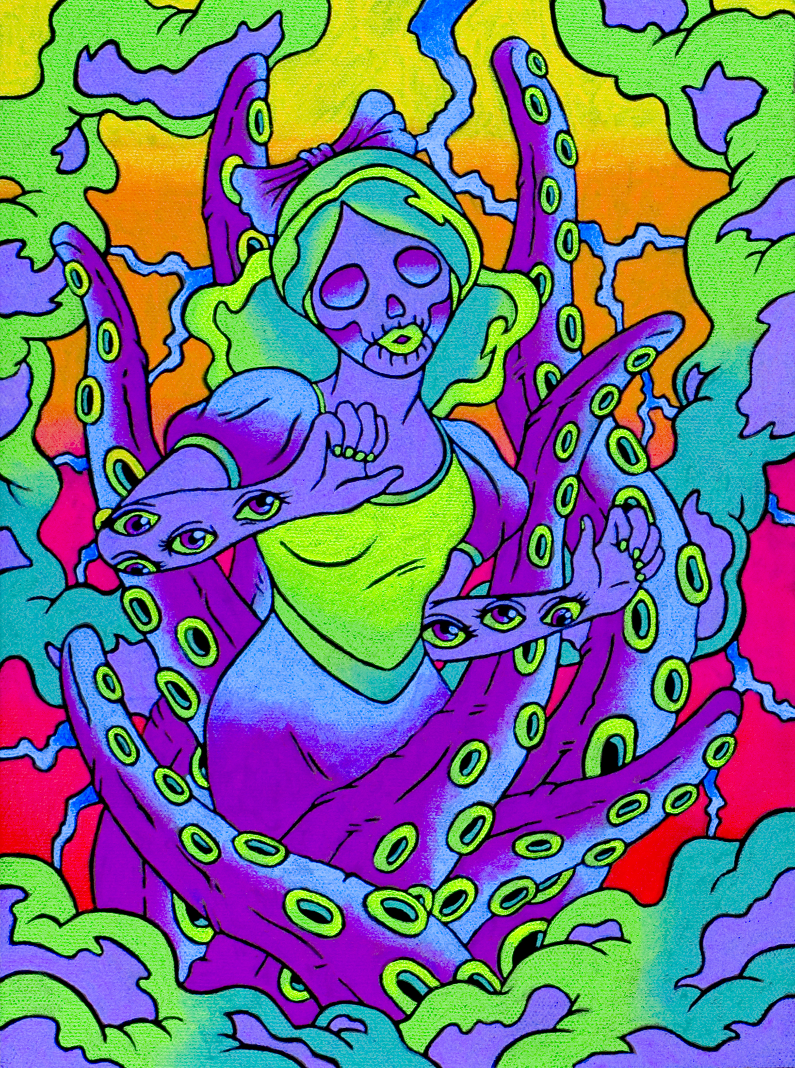 "snow_OCTO  - 5""x 6"" - fluorescent acrylic on canvas w/ blacklight"