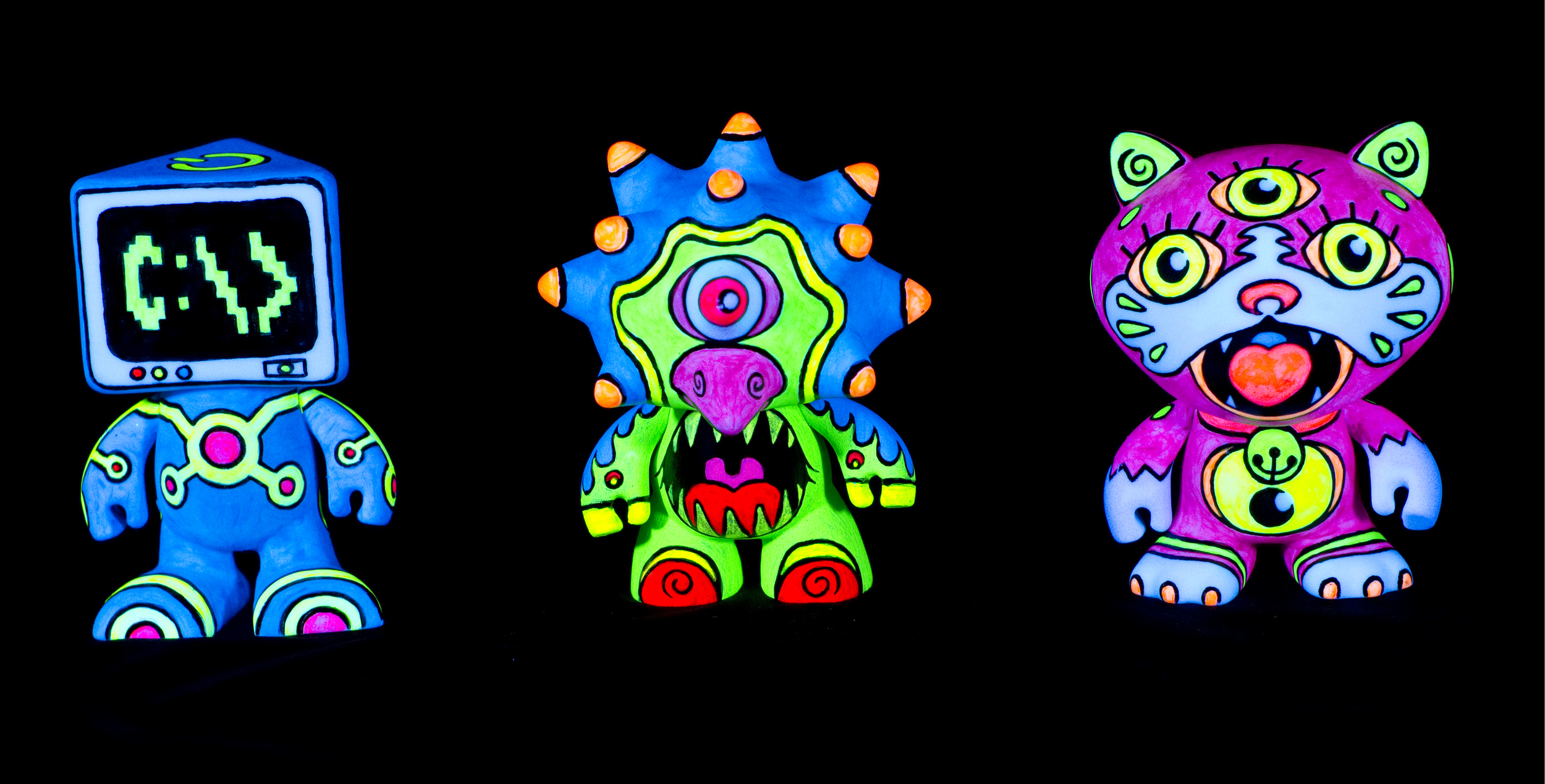 "neon_KIDS  - ""colorblanks"" vinyl toys - fluorescent acrylic on canvas w/ blacklight"
