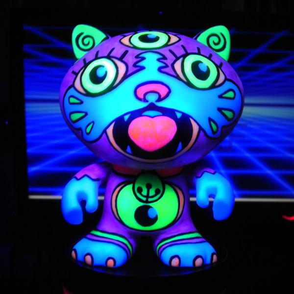 "neon_KITTY -""colorblanks"" vinyl toys -fluorescent acrylic on canvas w/ blacklight"