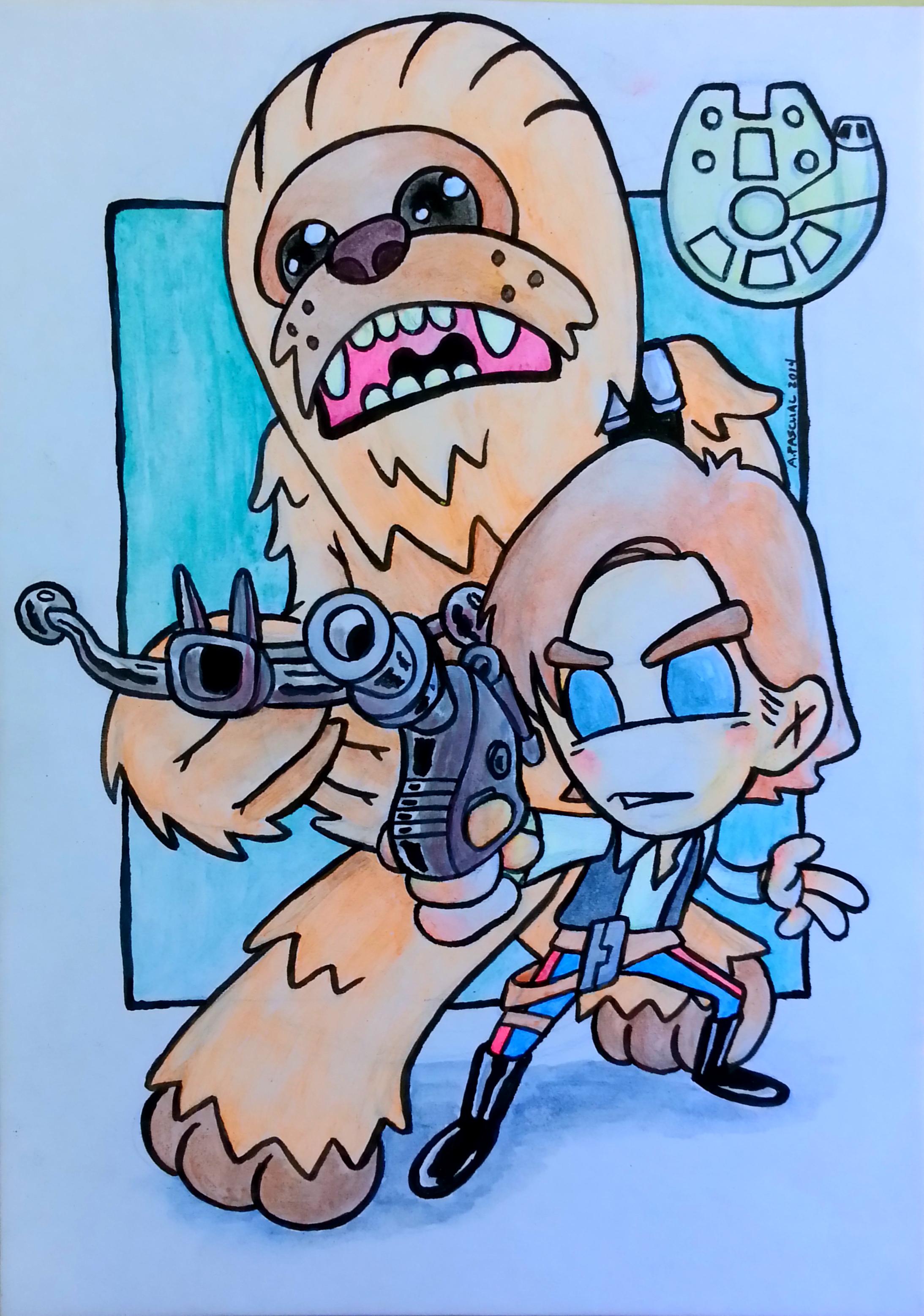 """Han & Chewie BFFs"" -  5"" x 7""acrylic & ink on matteboard"