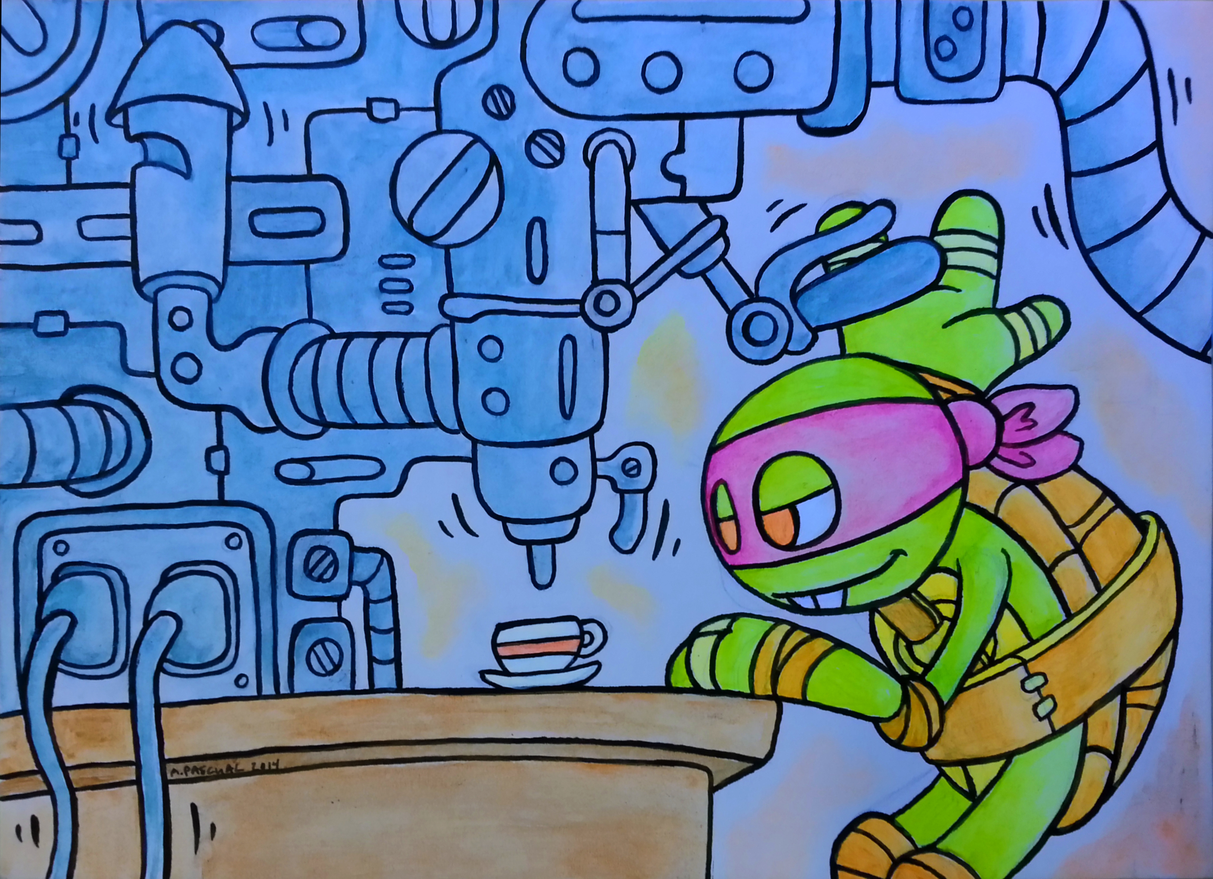 """Donatello does Machines"" 5"" x 7"" acrylic  & ink on matteboard"