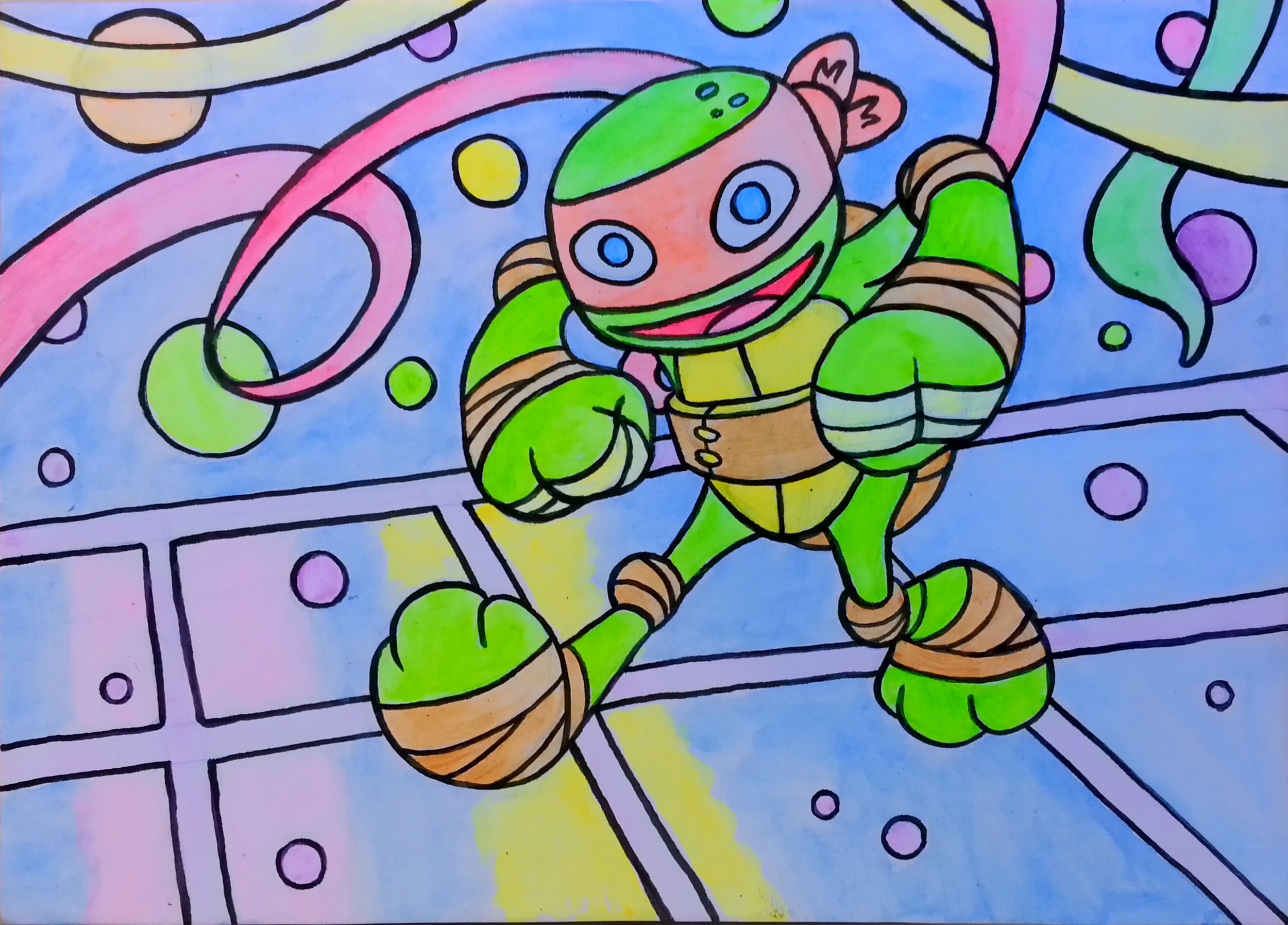 """Michelangelo is a Part-Dude"" 5"" x 7"" acrylic  & ink on matteboard"