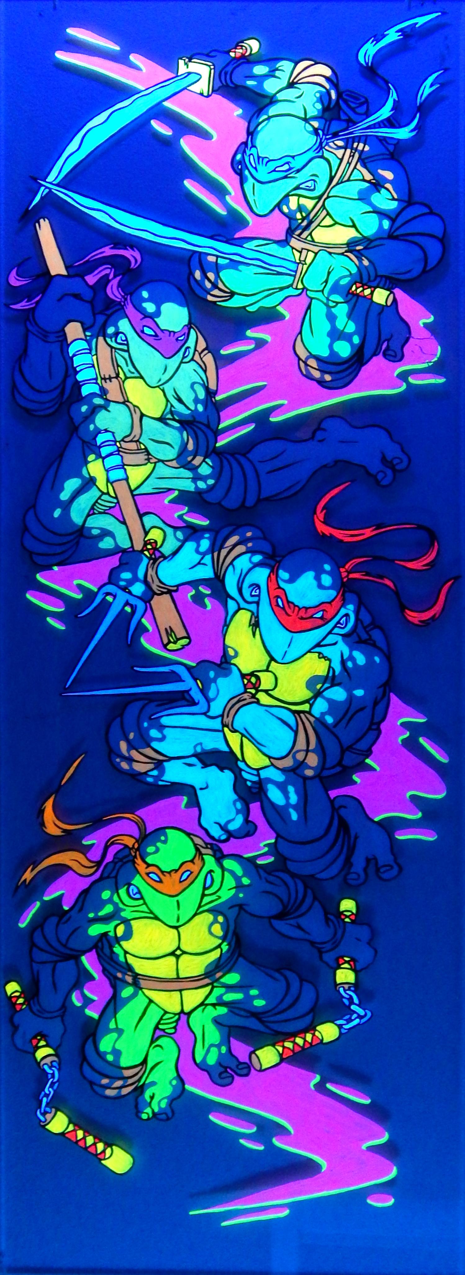 """secret of the Ooze"" - ink &   black-lightacrylic on plexi-glass - 16"" x 46"""