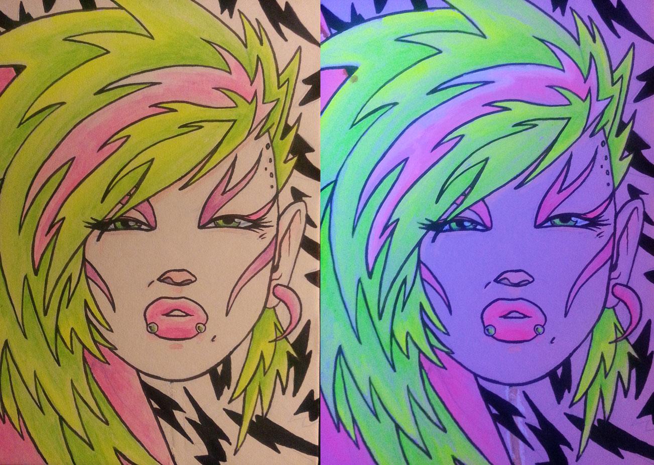 """Pizzazz"" - 5"" x 7"" acrylic on matte board w/ black light"