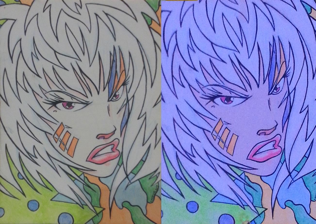 """""""Roxy"""" - 5"""" x 7""""  acrylic on matte board w/ black light"""