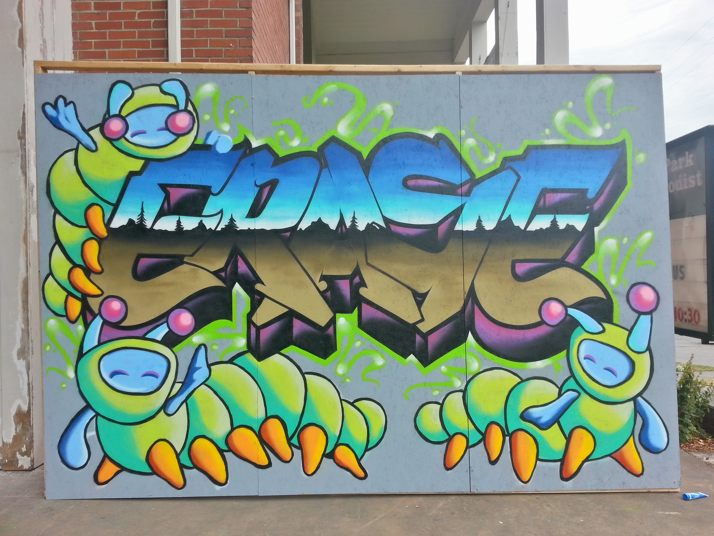 "Collaboration w/  @kae_one  - greenwood street fair - memorial for ""ERASE"" -more info @  http://michaelscaterpillar.weebly.com/"
