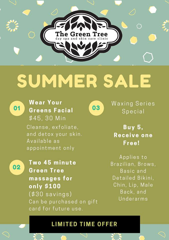 the green tree day spa summer sale