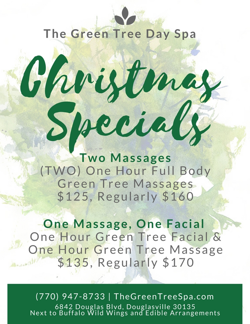 Douglasville Massage and Facial specials at The Green Tree Day Spa!