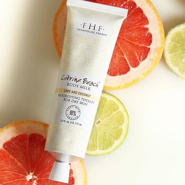 We love Citrine Beach lotion - available at The Green Tree Day Spa 🍊