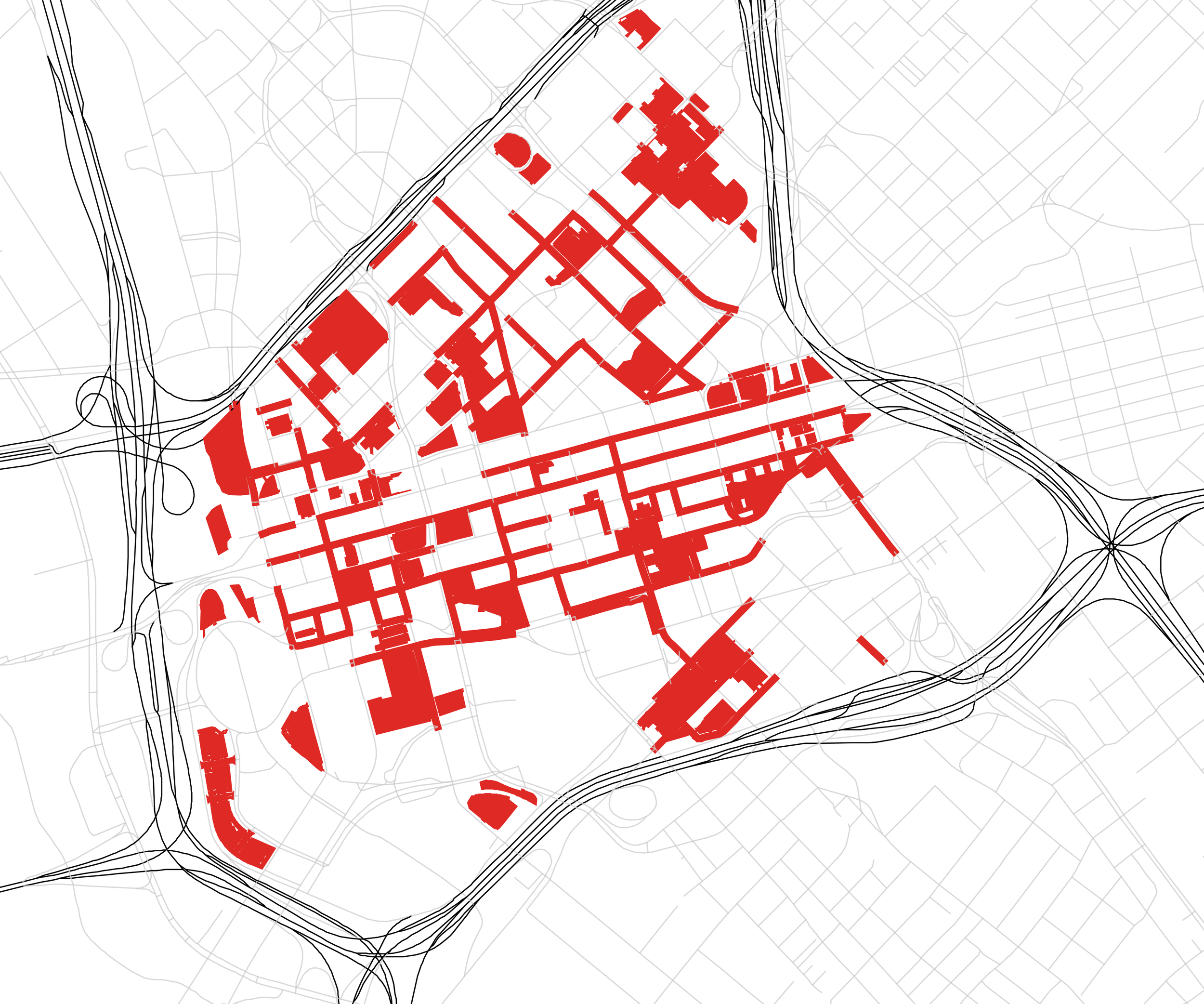 There is a perceived lack of parking (marked in red) in Downtown Dallas.