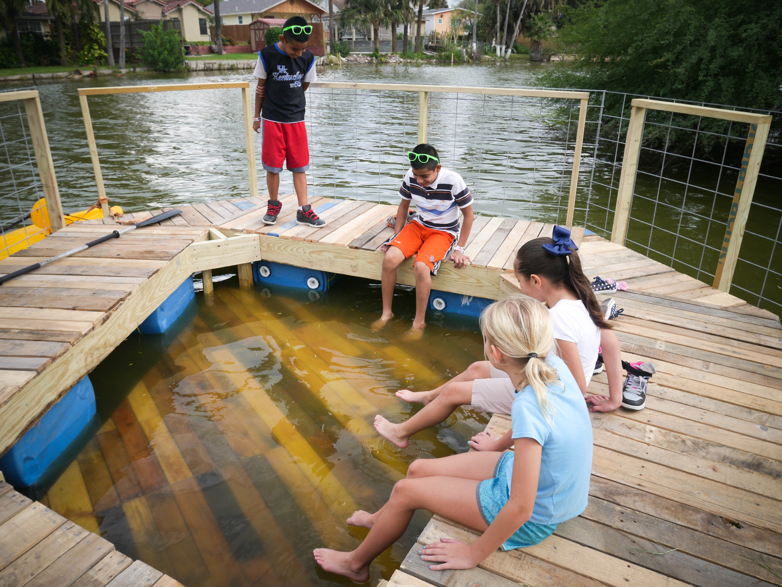 The design promotes people to engage with the water on a secondary underwater platform.