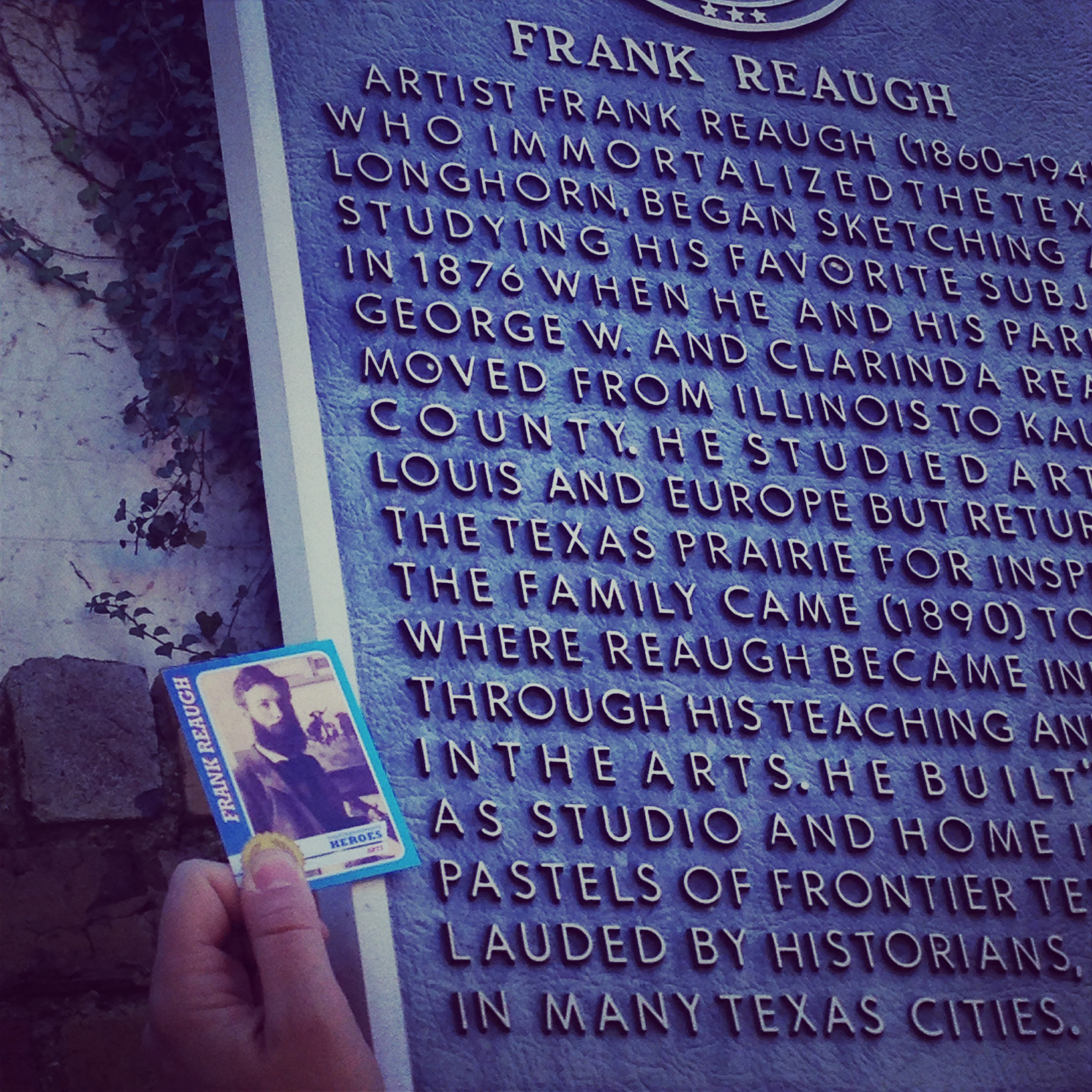 Frank Reaugh's card with Frank Reaugh's plaque.