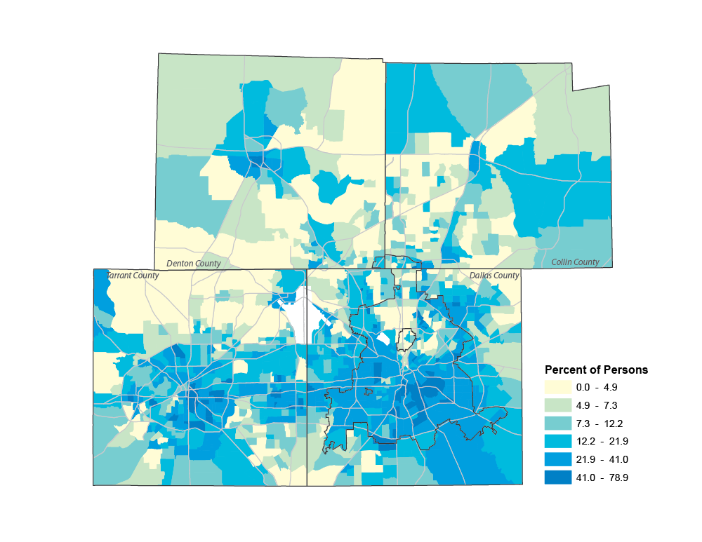 Poverty by Census Tract, 2014, Collin, Dallas, Denton, Tarrant Counties (ACS 5-YR)