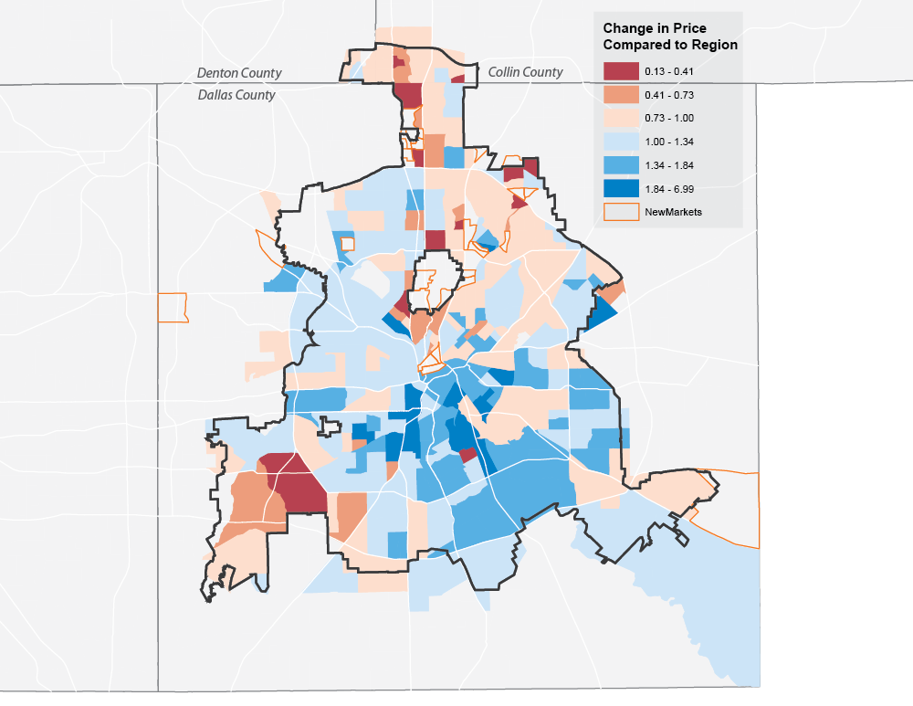 Change in Median Sales Price by Census Tract, Dallas, 2010-2015 (NTREIS)