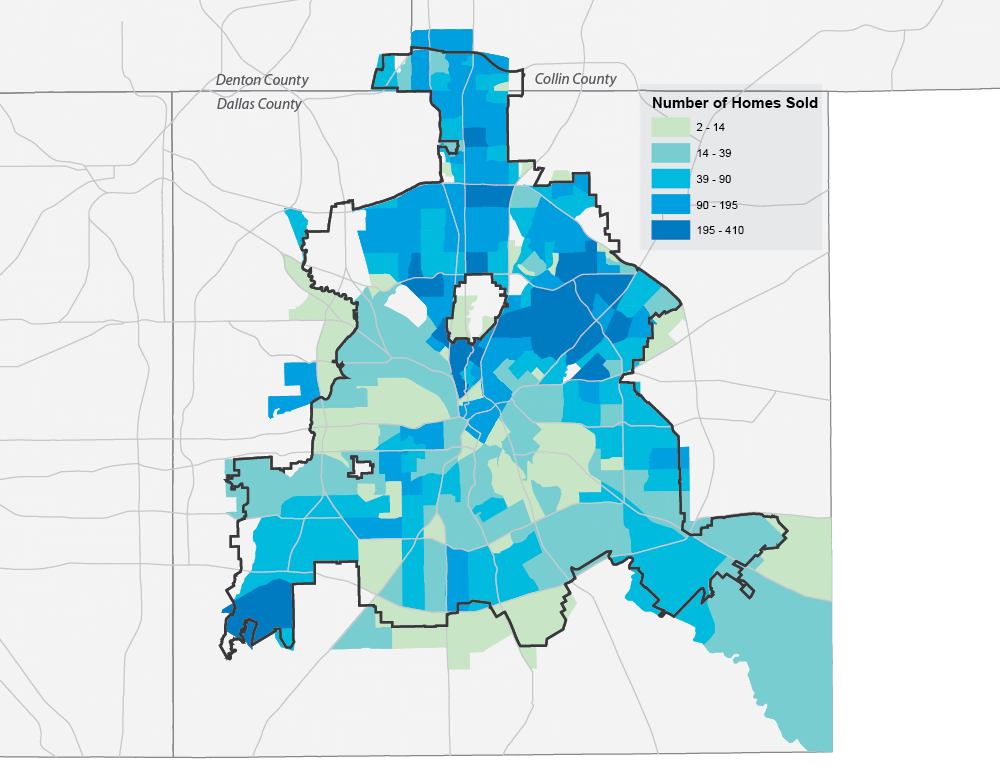 Home Sales by Census Tract, Dallas, 2015 (NTREIS)