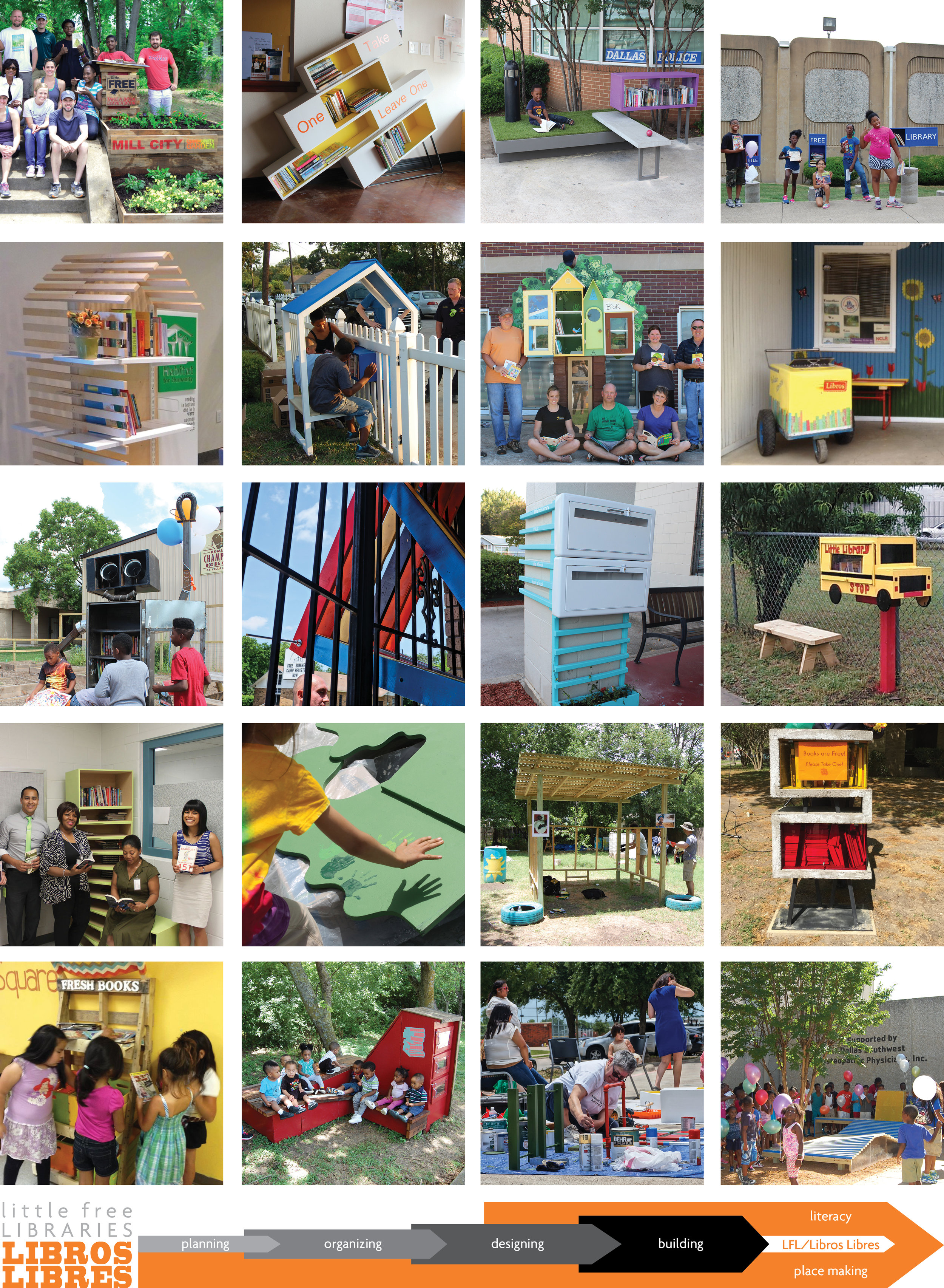 Images of all 20 Little Free Libraries designed under the Little Free Library/ Libros Libres program since 2014