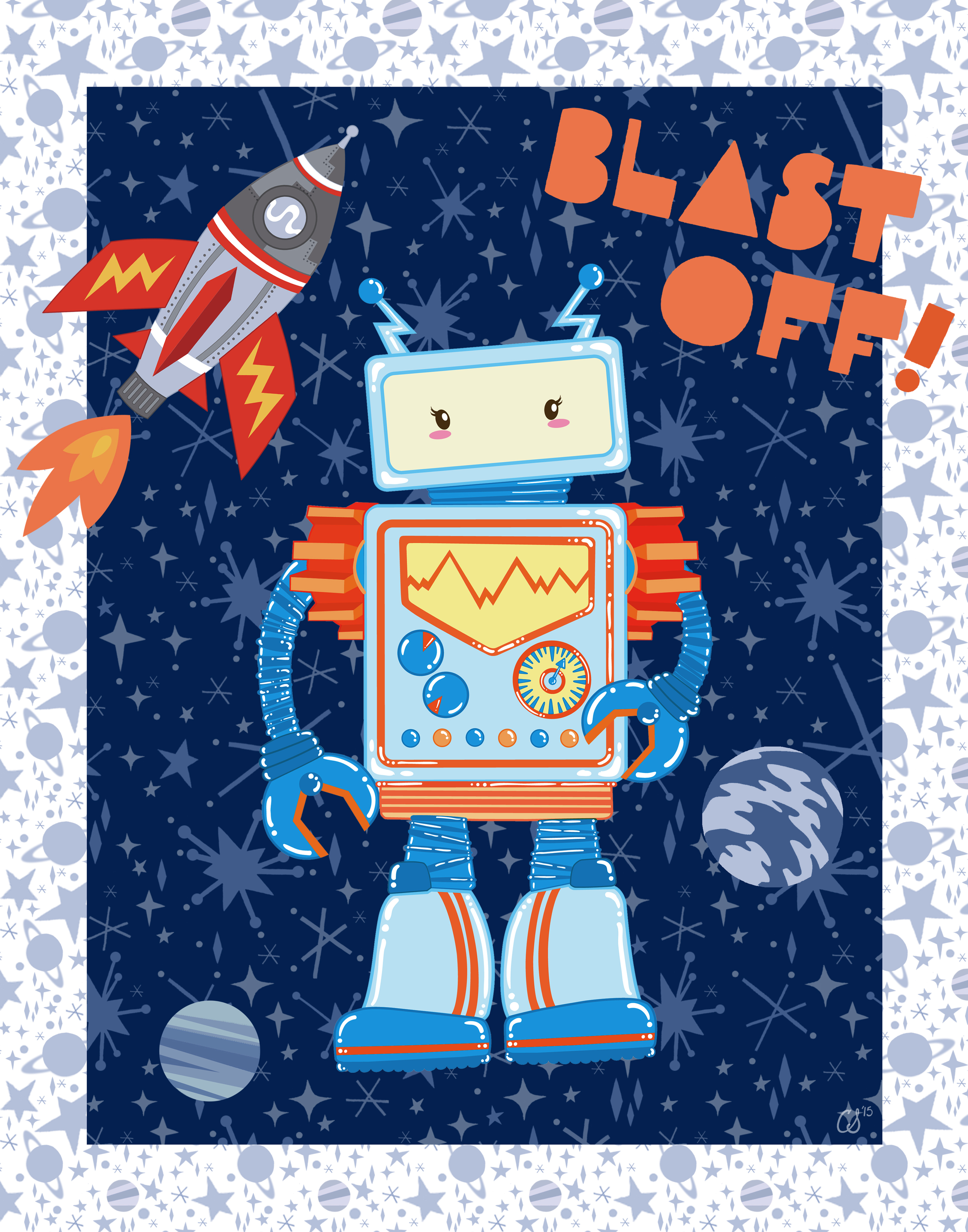 Blast Off Robot  image created for Art in Motion.  artinmotion.com .  This image is available for  publishing  purposes.