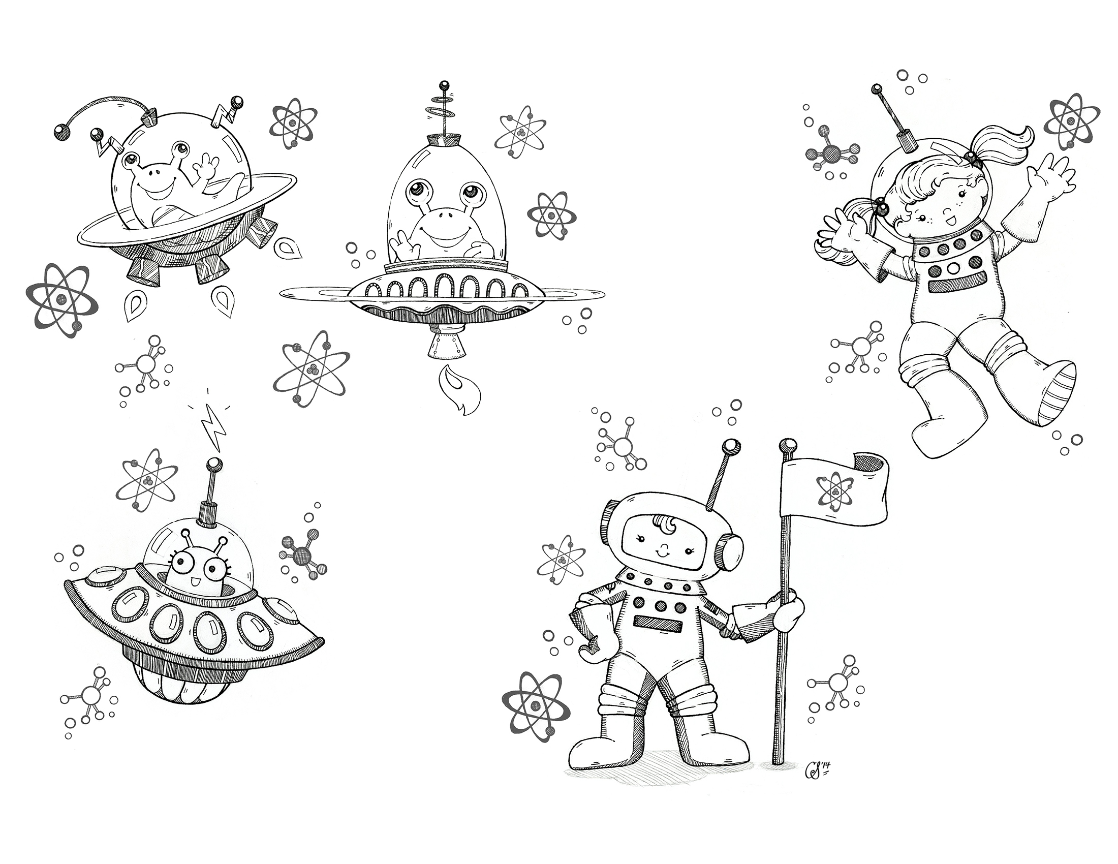 Astronaut Kids and Alien Characters