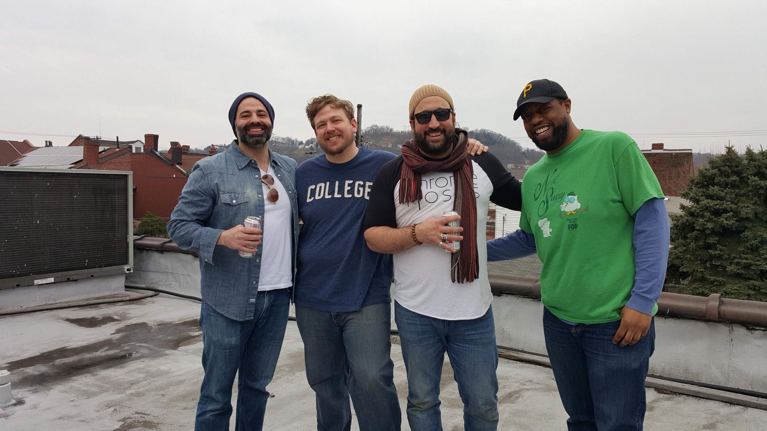 Joey, Garrett, TJ, and Clarence on the roof of the former Sky-lounge.