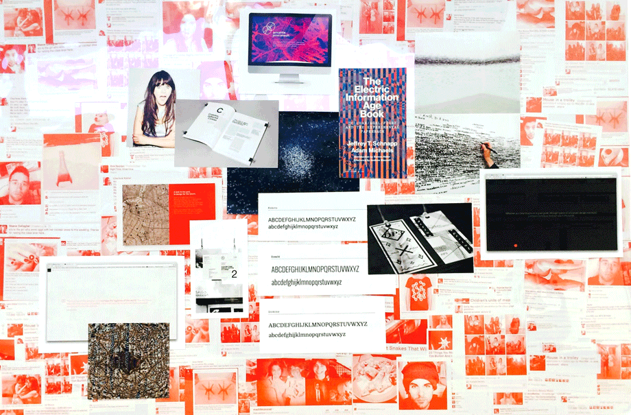 Initial mood board created to generate information overload, overwhelming its audience.