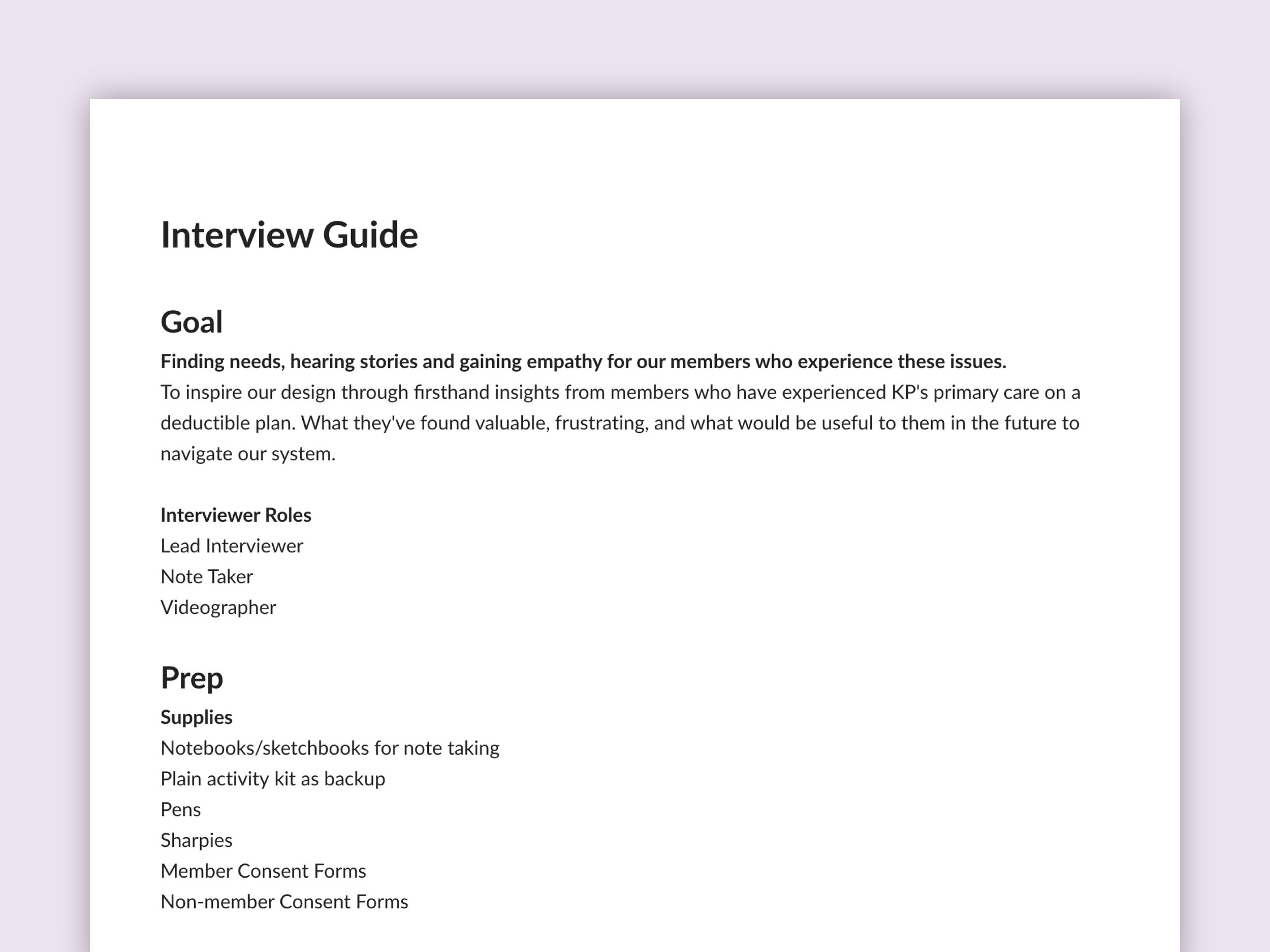 Writing interview guides