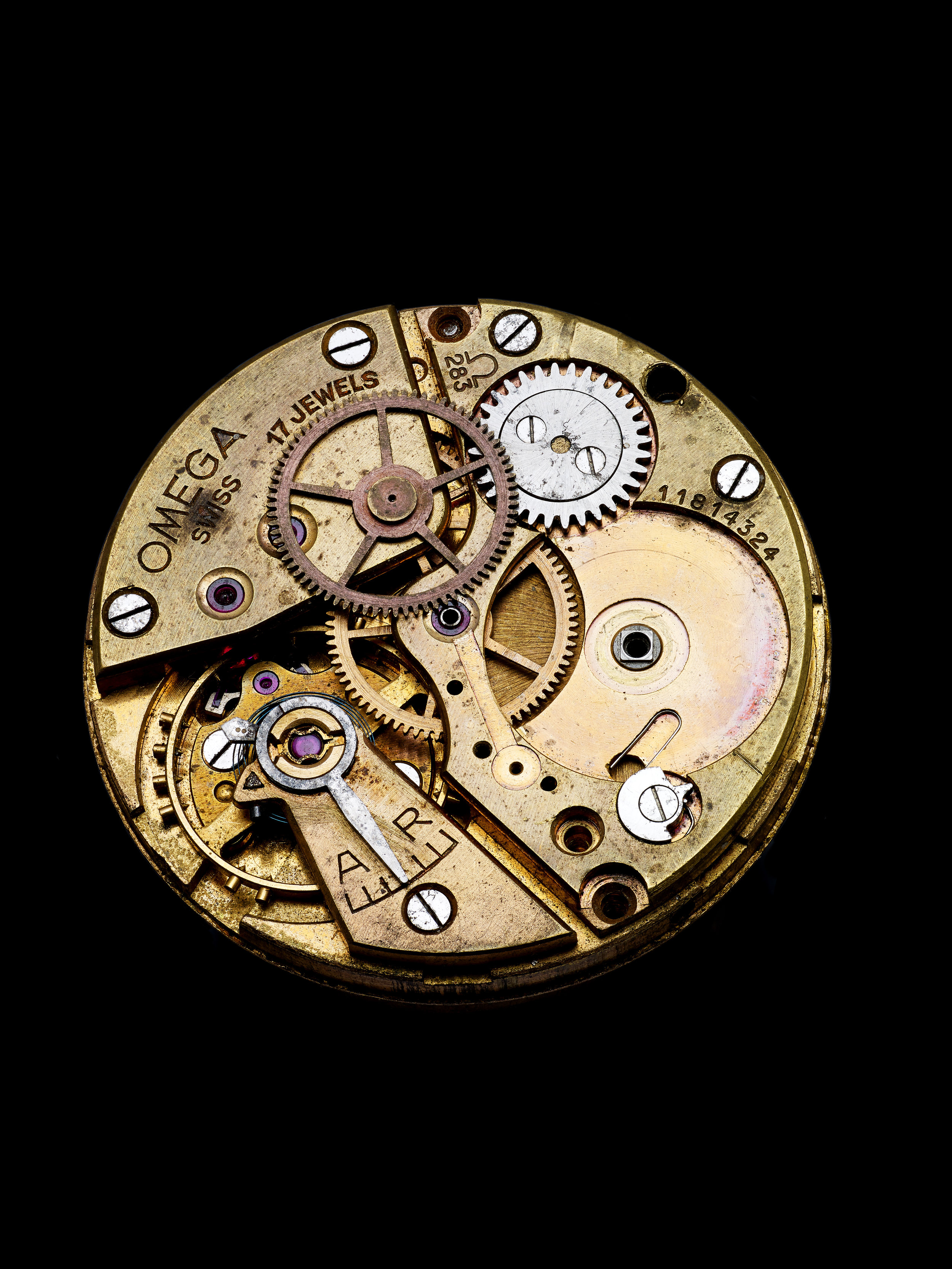 Vintage Omega movement before re-commissioning