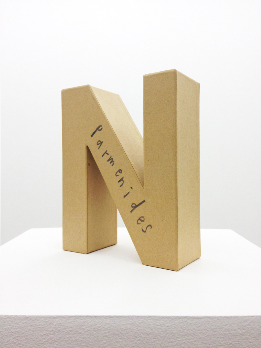 André Butzer, Untitled (Parmenides), 2012, 17,5 x 14 x 5,5 cm + 160 x 30 x 30 cm (plinth). Pencil on cardboard and plinth.
