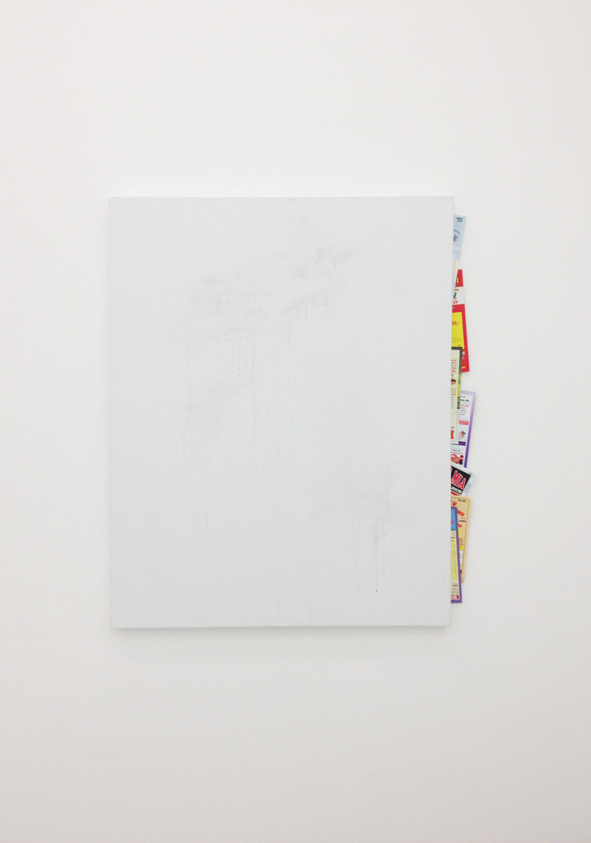 Torben Ribe, Untitled (with pizza menus), 99 x 80 cm. Granite paint on canvas and pizza menus.