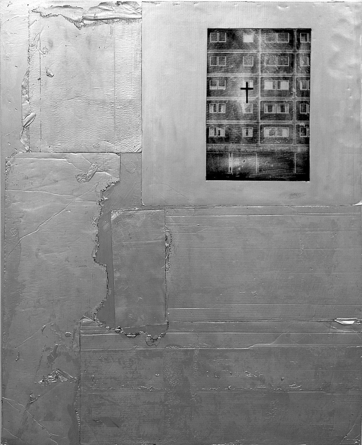 Opus 7:15, 2012, 165 x 134 cm. Cardboard, photo and acrylics on wood board.