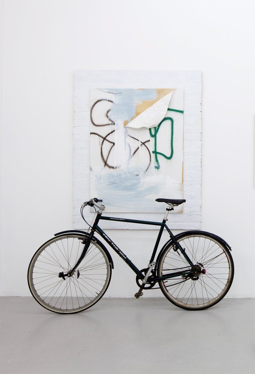 Untitled, 2012, app. 220 x 168 cm Mixed media on board and bike