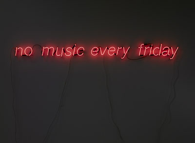 No Music every friday, 2008, 15 x 188 cm. Neon and transformer. Edition of 3 + 1 ap.