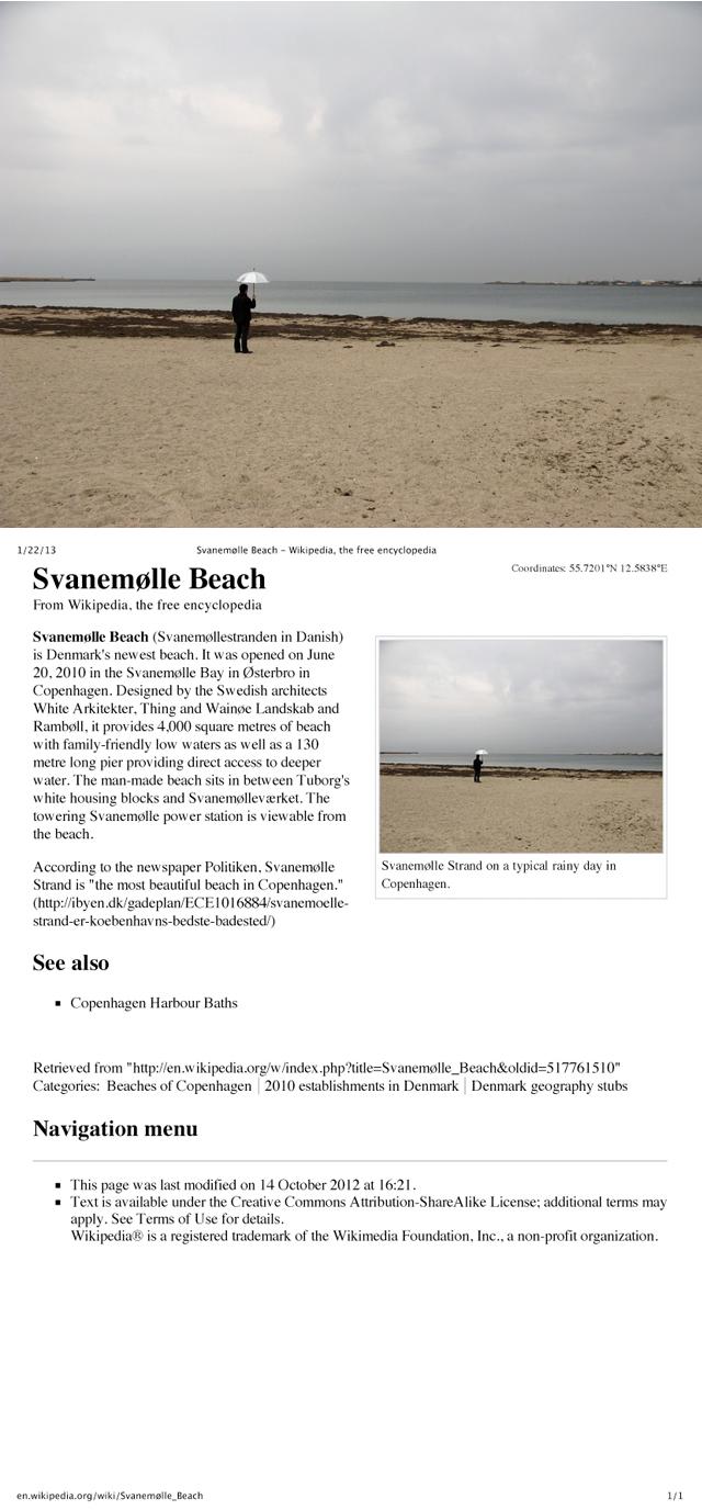 David Horvitz, 'Public Access (Svanemølle Beach, Copenhagen)'  Ongoing wikipedia intervention
