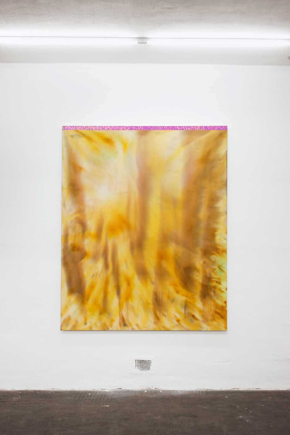 Untitled, 2013, silk paint, ink, glue, gesso and oil on sailing canvas, 179 x 145 cm
