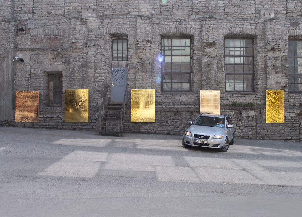 BRAND NEW PAINTINGS CAUGHT IN THE HEADLIGHTS OF PARKING CARS, 2013   Mylar emergency blankets (gold), stretchers, cars   Dimensions variable