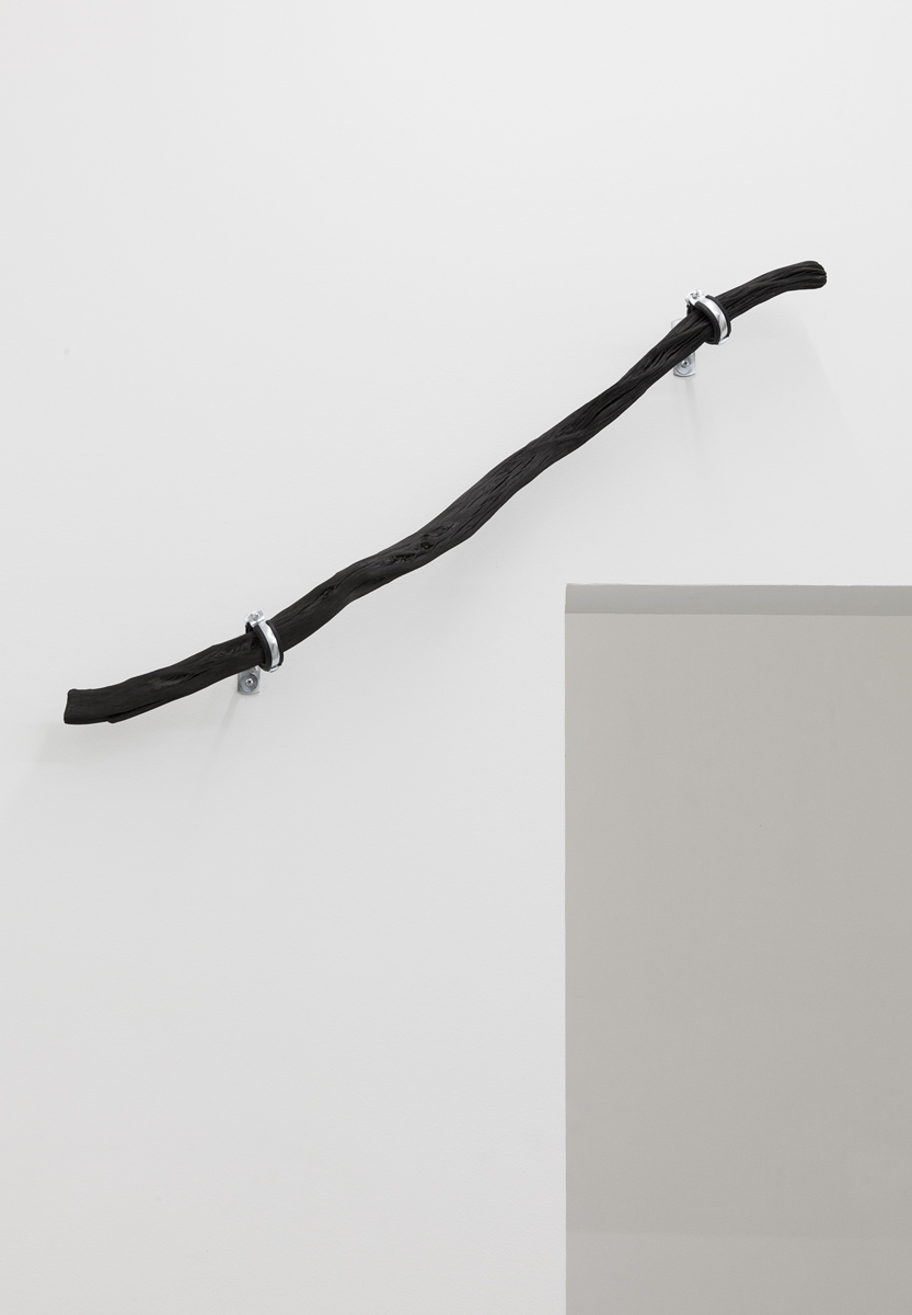 Line_1 , 2014, 100 cm Binchōtan - white charcoal, water pipe mounts