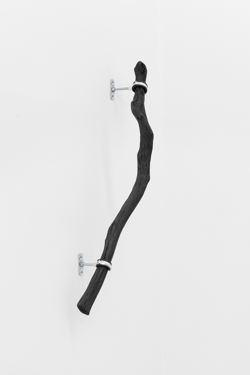 Line_2 , 2014, 100 cm Binchōtan - white charcoal, water pipe mounts