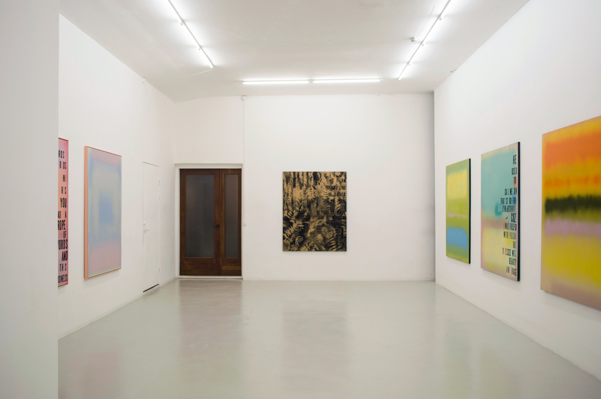 Installation view from Michael Bevilacqua's exhibition  Dark Calm... Some Words in 3 Acts