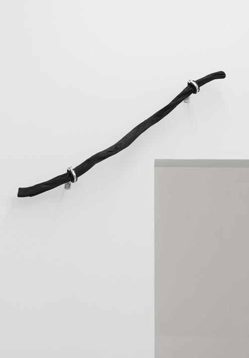 LINE_ 1 , 2014, 100 cm Binchōtan - white charcoal, water pipe mounts