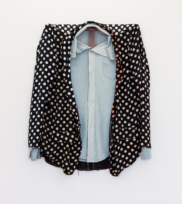 Polka Dot Blazer over Denim Shirt, 2015, 117 x 101,5 Mixed textiles on walnut stretcher
