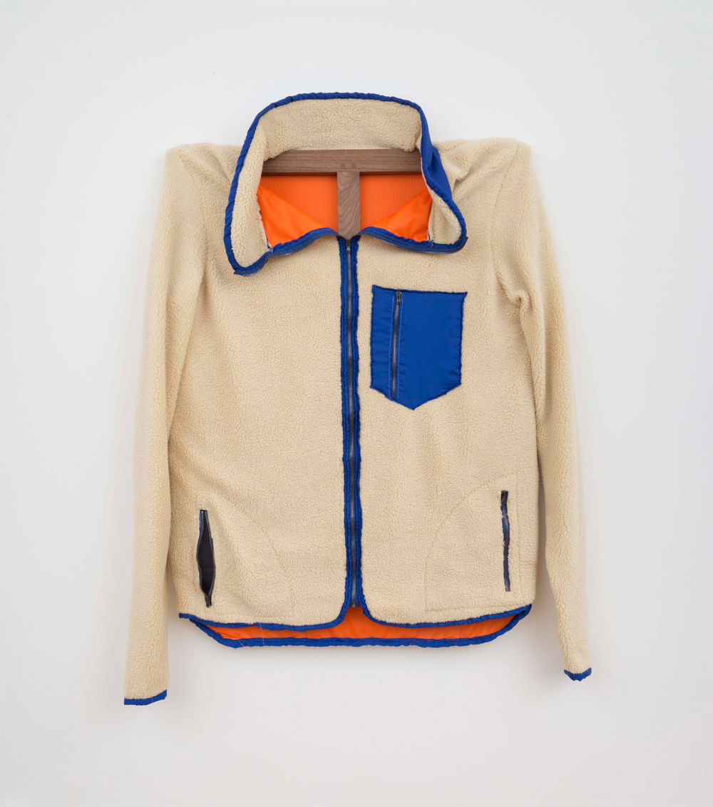 Patagonia Fleece (Blue piping), 2015, 117 x 101,5 Mixed textiles on walnut stretcher