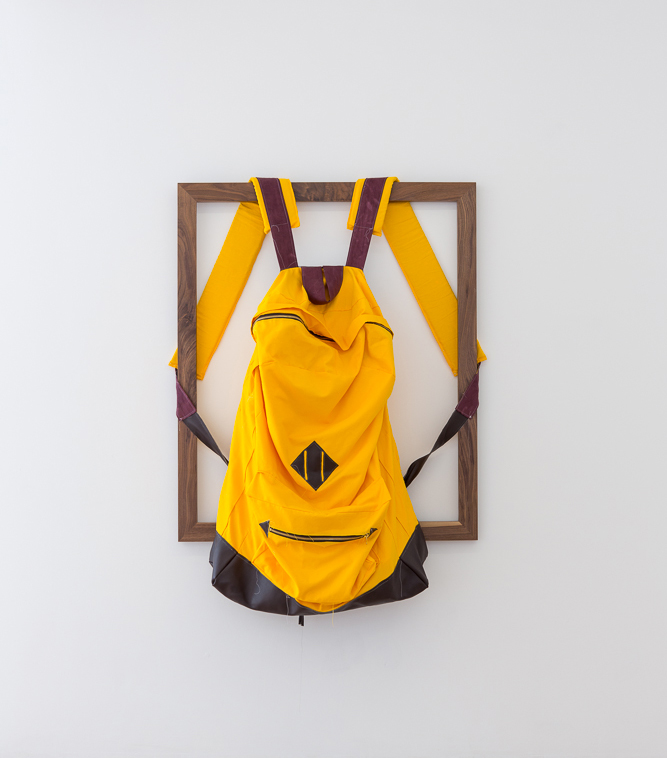 Rucksack, 2015, 117 x 101,5 Mixed textiles on walnut stretcher