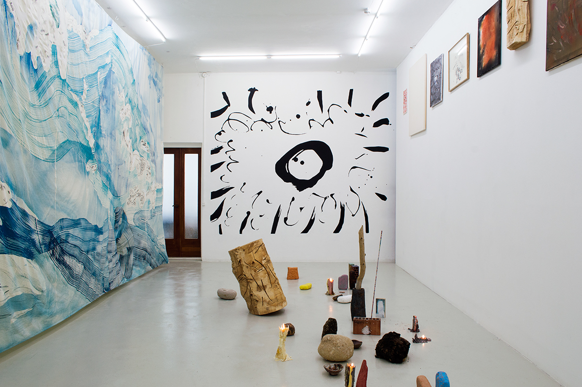 Installation view of Kälen, with works by Matthew Lutz-Kinoy, Magni Borgehed and Natsuko Uchino