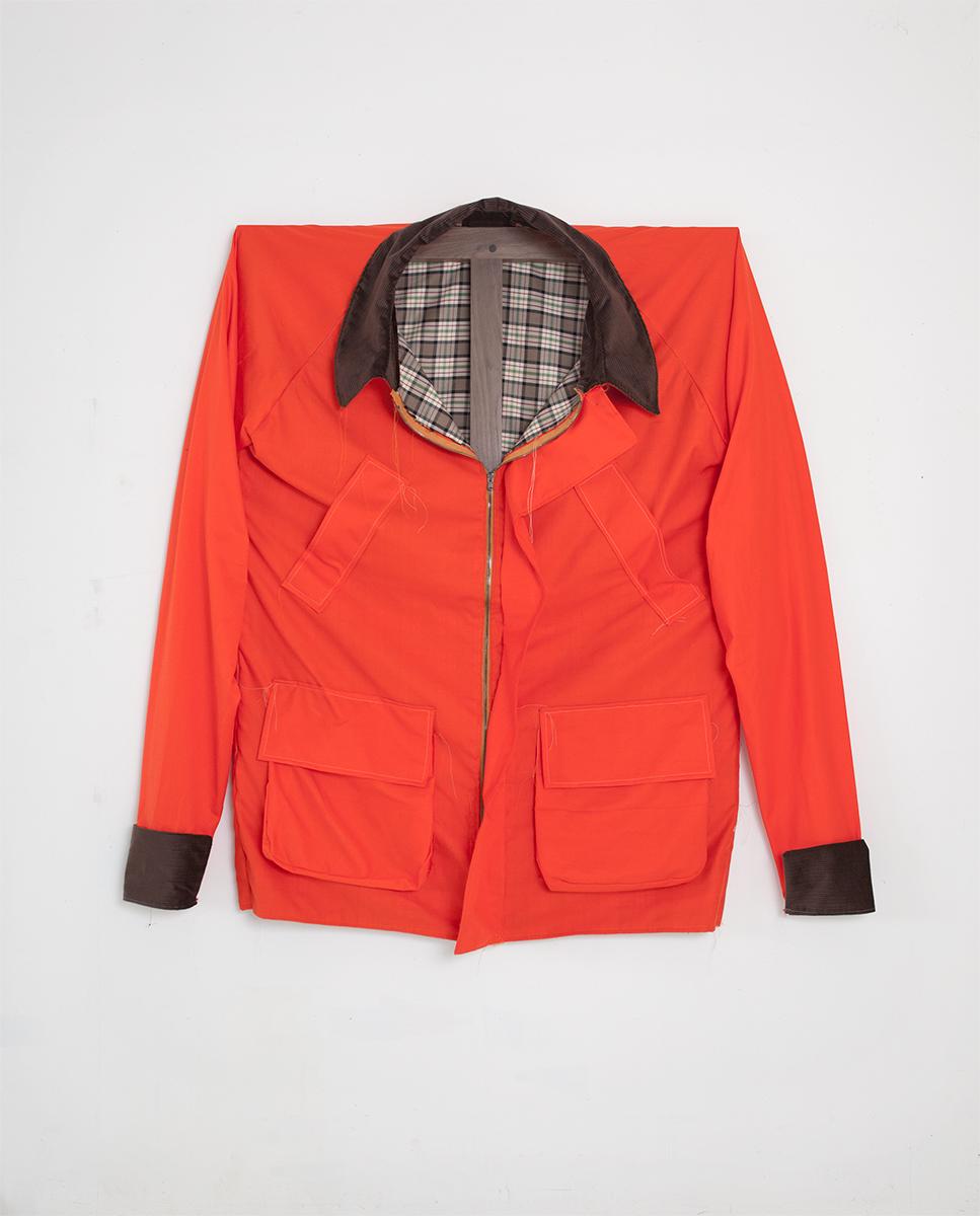 Barbour Coat, 2015 157,5 x 139,7 x 19 cm Cotton on Walnut Frame