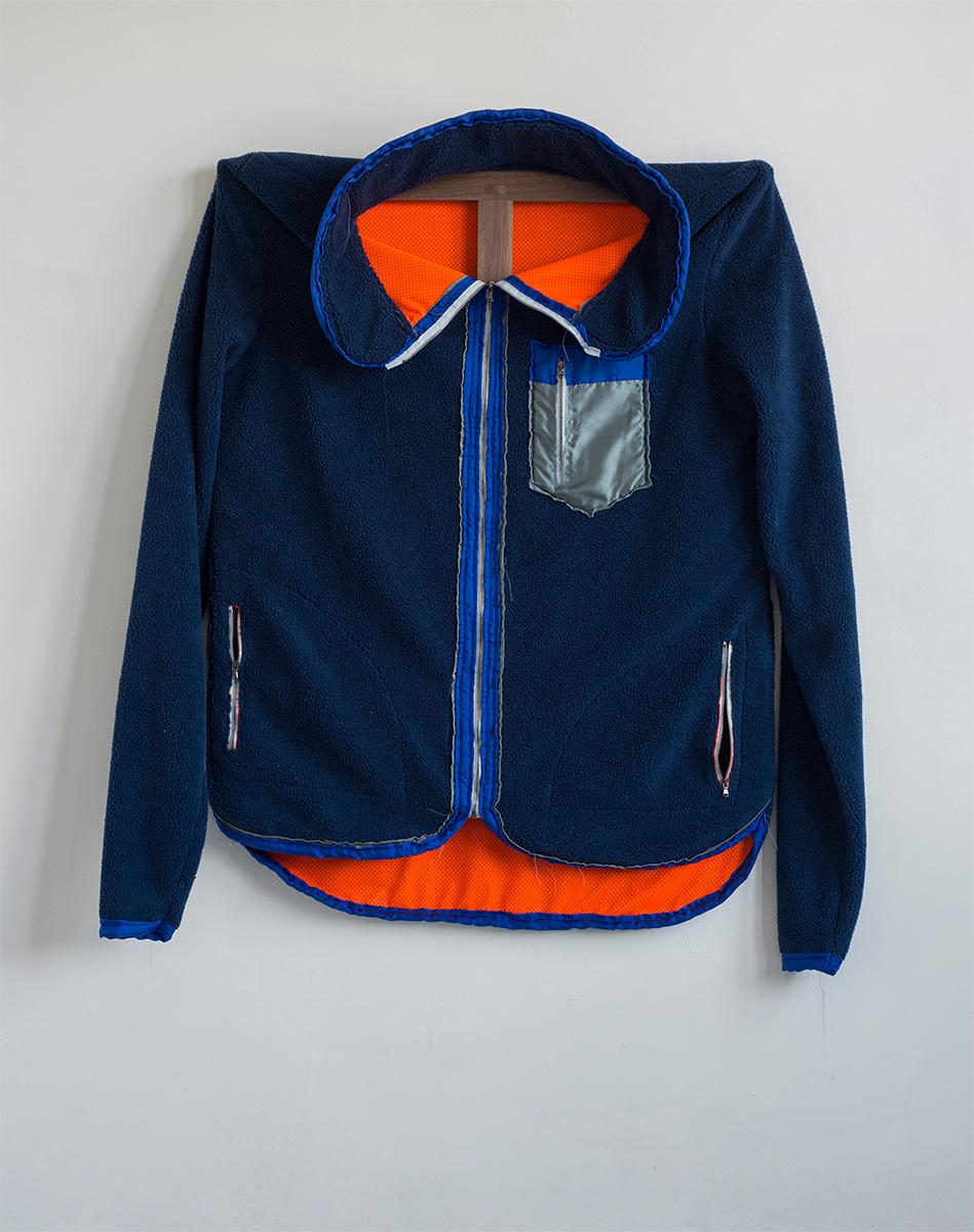 Blue Patagonia, 2015 142,2 x 147,3 x 15 cm Fleece on Walnut Frame