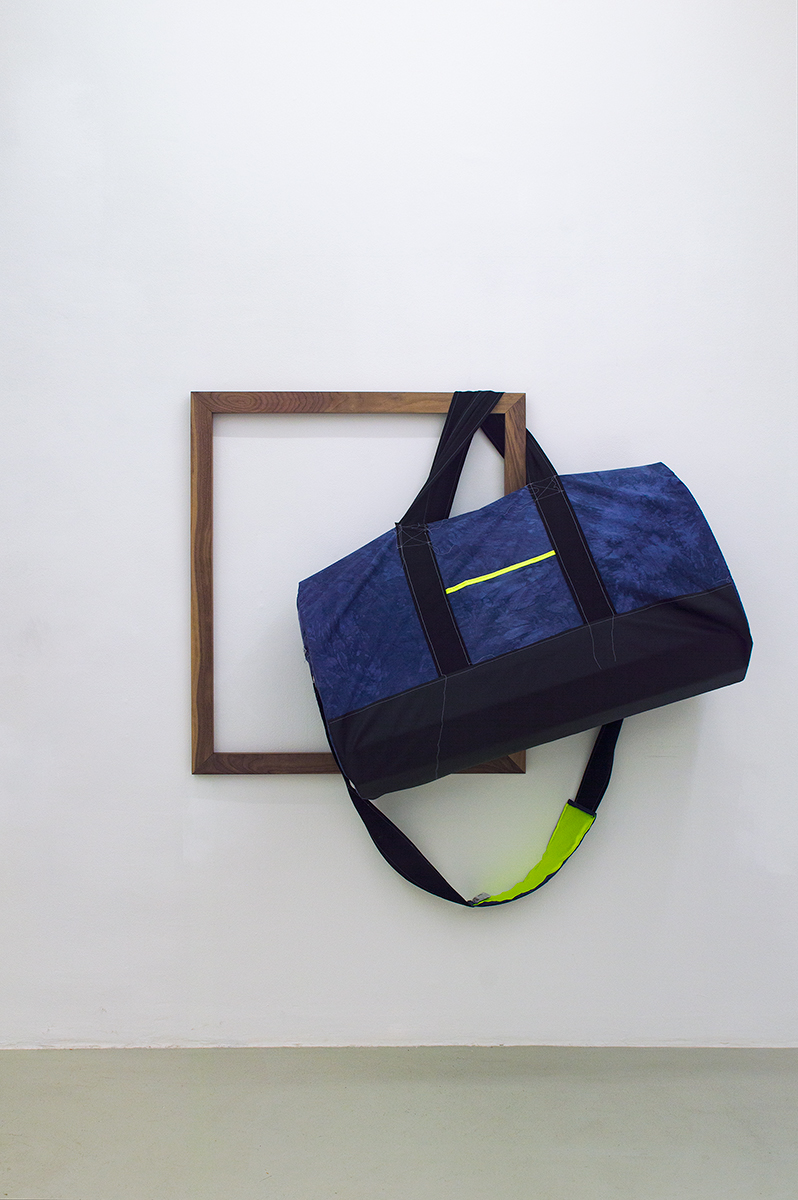 Duffle Bag, 2015 158 x 154 x 60 cm Cotton and leather on Walnut Frame