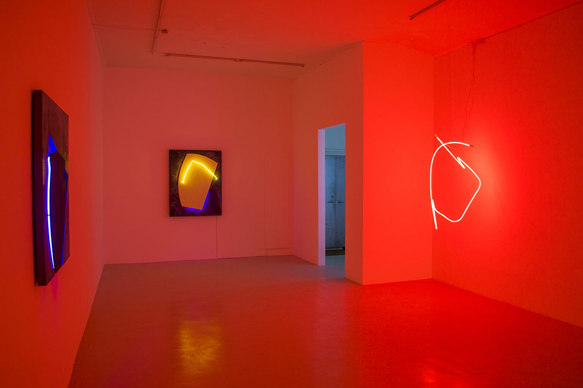 Installation view from Gun Gordillo's exhibition 'in light' (Gallery light turned off)
