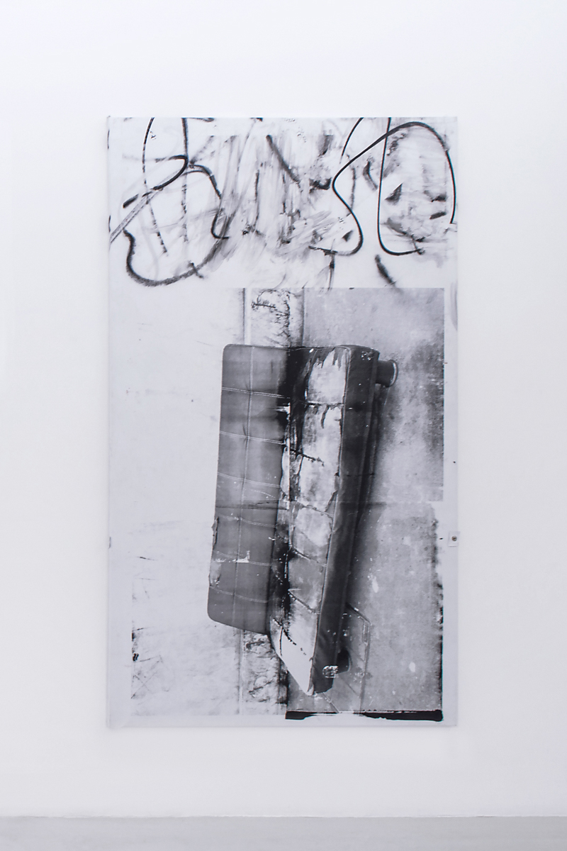 Antoine Donzeaud   Ordinary Objects for Common Use (couch),   2015   240 x 140 cm Wood, PVC tarp, spray paint