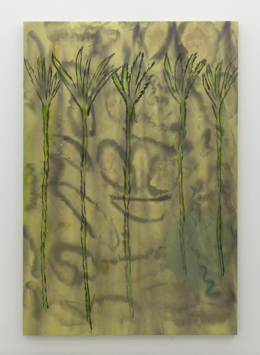 Untitled (13 true stories series #1) 2016 190 x 130 cm Ink, silk paint, bleach, and salt on denim