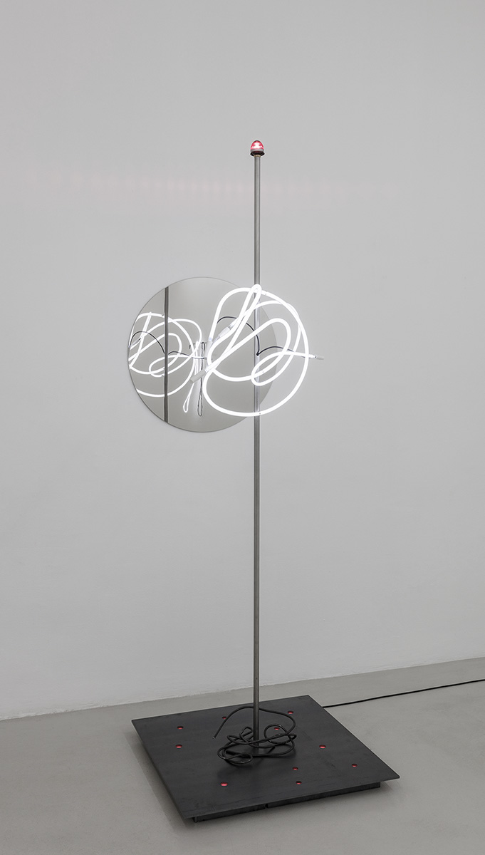 Signum, 2017 235 x 80 x 110 cm Neon light, steel, stainless steel and LED light