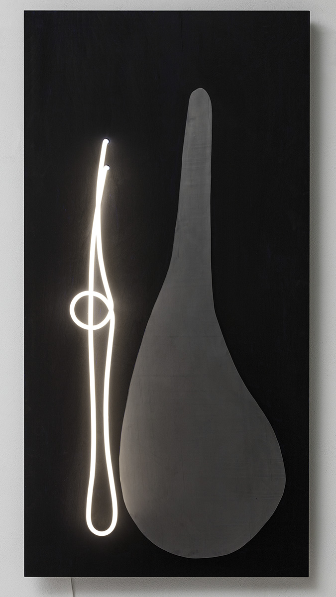 Près, 2017 155 x 76 x 15 cm Neon light, acrylic, lead and wood